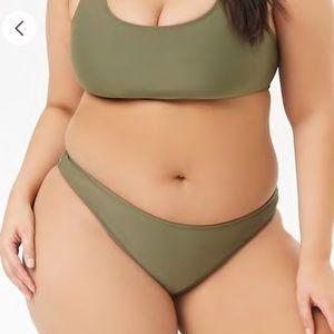 Forever 21 olive high leg stretch bikini bottoms